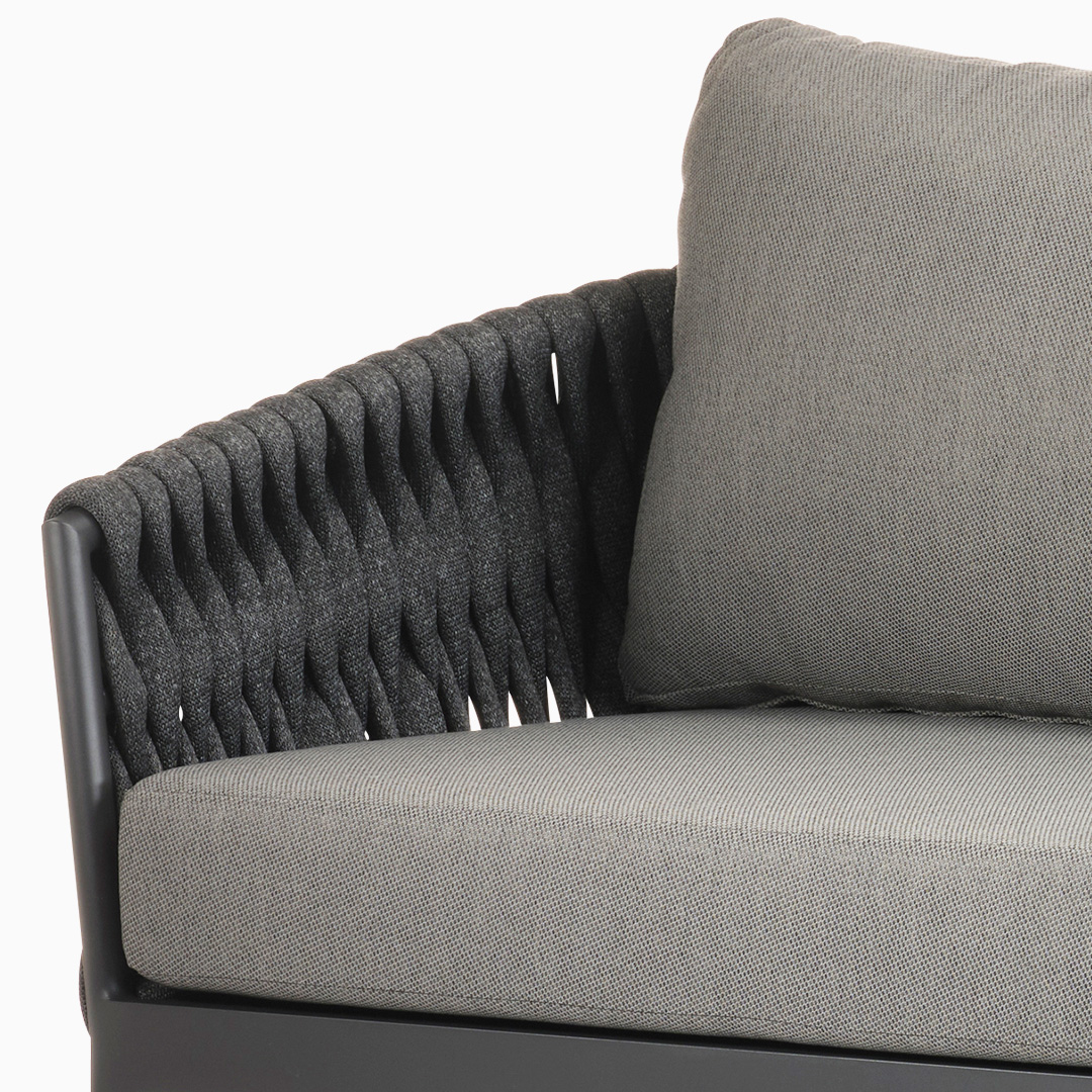 3-Sitzer Sofa Kapstadt - Breitgeflecht - Dunkelgrau