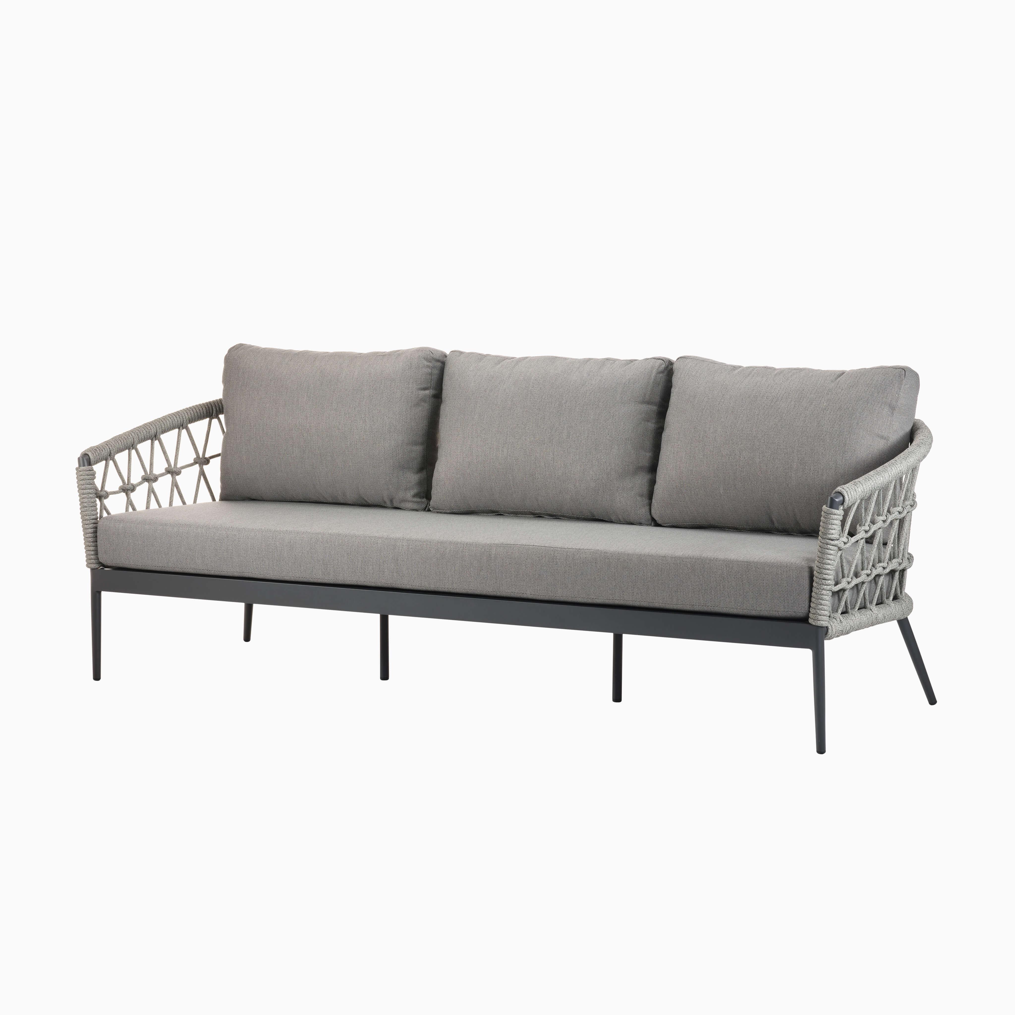 3-Sitzer Sofa Kapstadt - Fischnetzgeflecht - Silbergrau
