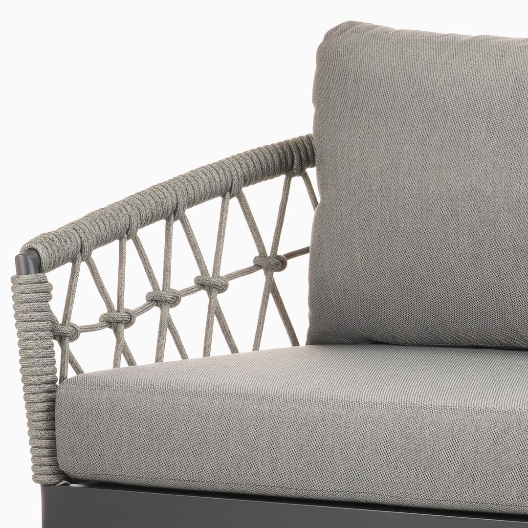 2-Sitzer Sofa Kapstadt - Fischnetzgeflecht - Silbergrau